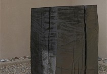 """1. """"Reclamation"""" 2010, 48"""" x 28"""" x 28"""", reclaimed old growth spruce, charred and covered in graphite, 1 of 4 (small) sculptures in this proposed project."""